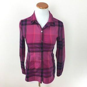 Burberry Brit Plaid Slim Fitted Button Down Shirt